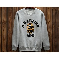 BAPE men and women couple models camouflage printed pullover sweater F-A-KSFZ grey