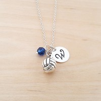 Volleyball Charm - Personalized Sterling Silver Necklace