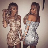 Sexy Strapless Sequin Embroidery Long Sleeve Bodycon Mini Dress