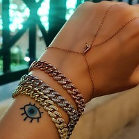 Initial Letter Customized Clear Zircon Hand Crafted Hand Chain Bracelet Solid 925 Sterling Silver Adjustable14K Gold, Rose Gold, White Gold Option/s Available