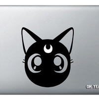 Moon cat Luna Macbook macbook decal,Macbook Pro/Air/Ipad Stickers,Macbook Decals,Apple Decal for Macbook Pro / Macbook Air/laptop