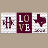 Texas State Chevron Custom Family College Monogram Initial State LOVE School University Gift Wedding Set of 3 Wall Art Canvas or Print