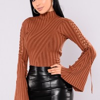 Next To Me Mock Neck Sweater - Rust