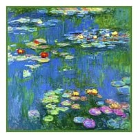 Water Lilies in Bloom detail inspired by Claude Monet's impressionist painting Counted Cross Stitch Pattern