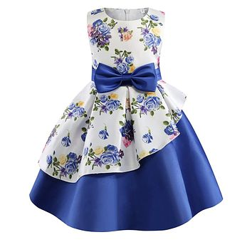 Little Girl's Formal Floral Print Dress, Sizes 2T - 9 years (Royal Blue)