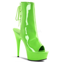 Neon Green Ankle Boot 6 Inch Heel Stripper Boot