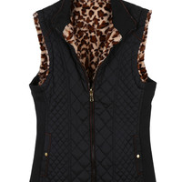 LE3NO Womens Quilted Zip Up Faux Fur Reversible Puffer Vest with Pockets