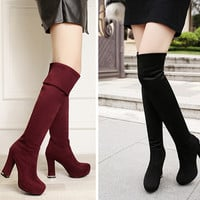 Womens Stylish Thigh High Trendy Riding Heel Boots