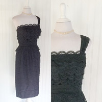 1950s vintage Ferman O'Grady strapless black sheer scalloped lace cocktail pinup dress // sheer chiffon strap & waist // size M