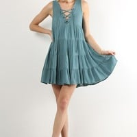 Lace-Up Pleated Dress