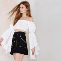 White Off-Shoulder Angel Sleeve Cropped Top