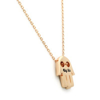 """Sister Gift - Big Sister Hamsa Hand Necklace Engraved with """"Big Sis"""", 18"""" Chains Included"""