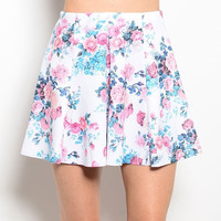 High Waisted Floral Printed Pleated Skirt