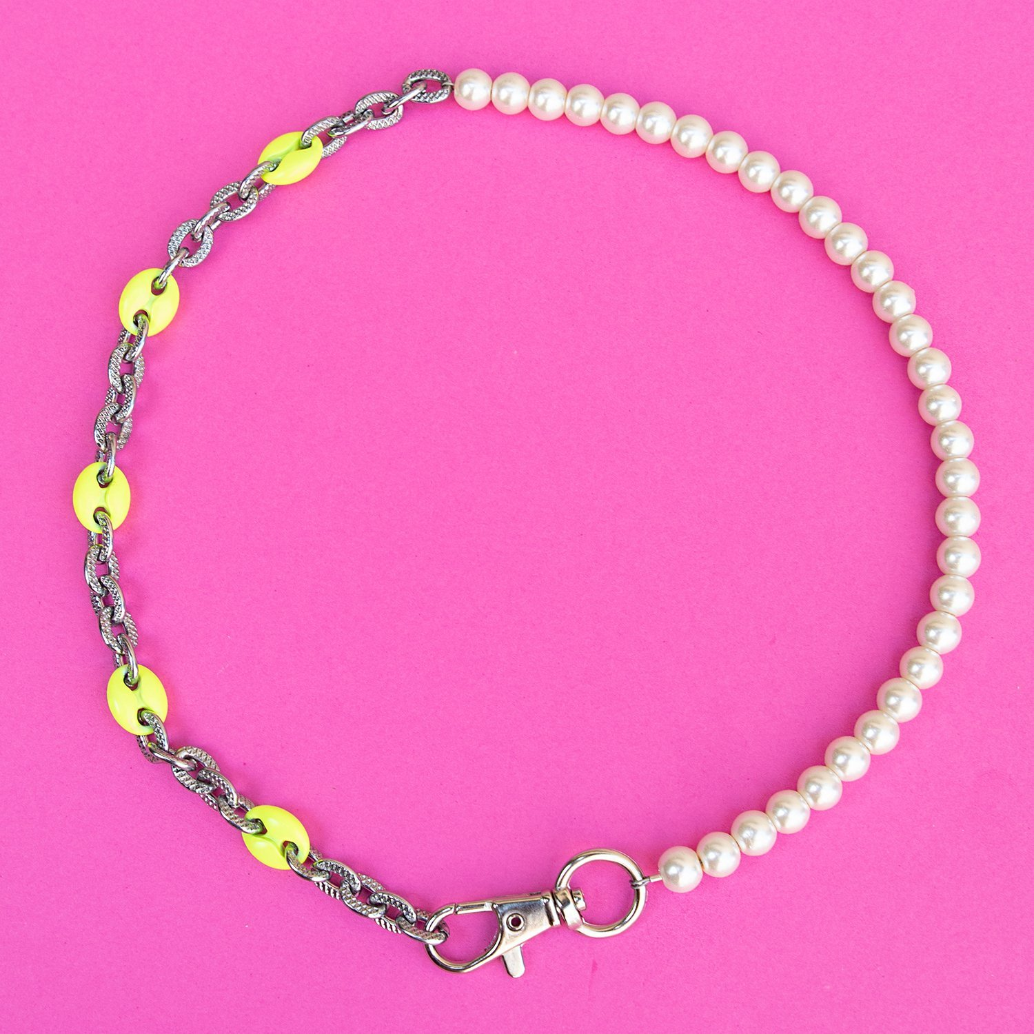 Image of Pearl 50/50 Neon Mariner Necklace