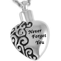 "Stainless Steel ""Never Forget You"" Urn Necklace"
