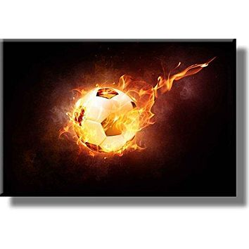 Soccer Ball on Fire Picture on Stretched Canvas, Wall Art decor, Ready to Hang!
