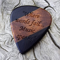 Handmade Multi-Wood Premium Guitar Pick - Laser Engraved - Actual Pick Shown - Engraved Both Sides