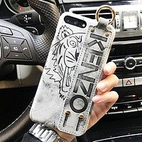 Kenzo New fashion letter tiger print couple protective cover phone case Gray