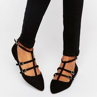 Oasis Lucy Triple Buckle Ballerina at asos.com