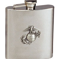 Stainless Steel Marine Corps Emblem Flask