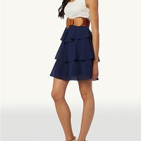 Belted Tiered Lace Tank Dress