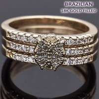 Gold Layered Women Butterfly Multi Stone Ring, with White Micro Pave, by Folks Jewelry