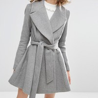 ASOS Skater Coat With Oversized Collar and Self Belt at asos.com
