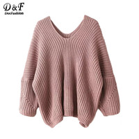 Dotfashion Womens Fall Sweaters Knitwear High Fashion Sweater for Women Sexy Fall Tops V Neck Drop Shoulder Oversized Sweater