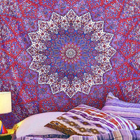 Magical Night Star Mandala Tapestry, Medallion Purple Wall Hanging, Hippie Mandala Tapestries, Queen Bedspread, Beach Blanket