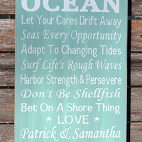 Advice From The Ocean Teal, Aqua, Mint Green, Sage, Personalized Wood Sign Large Beach Wedding Hand Painted Beach Decor