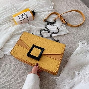 Stone Pattern YELLOW Vegan Faux Leather Crossbody Bags For Women Small Shoulder Messenger Bag Female Luxury Chain Handbags and Purses