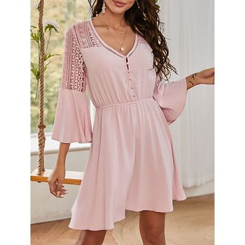 Guipure Lace Yoke Half Button Dress