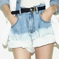 gradient wash loose fit denim shorts from mancphoebe