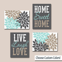 WALL ART CANVAS or Prints Live Laugh Love Home Sweet Home Quote Home Decor Artwork Picture Flower Burst Floral Set of 4 Choose Your Colors