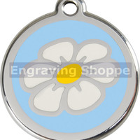 Light Blue Daisy Enamel and Stainless Steel Personalized Custom Pet Tag with LIFETIME GUARANTEE ID Tag Dog Tags and Cat Tags Free Engraving