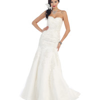 Strapless Lace Detailed Corset Gown