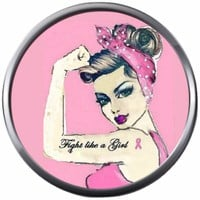 Rosie Riveter Tough Girl On Pink Battle Breast Cancer Support Awareness Ribbon 18MM - 20MM Snap Jewelry Charm New Item