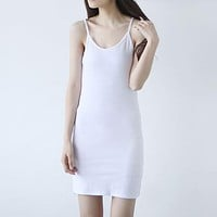 Women's Inner Modal Camisole Dress Sexy Slim Petticoat Wild Bottoming Female Maxi Thin Dresses