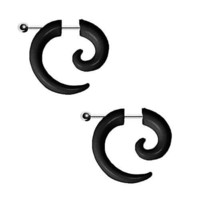BodyJ4You Fake Tapers Spiral Plugs Black Acrylic Gauges Illusion Jewelry