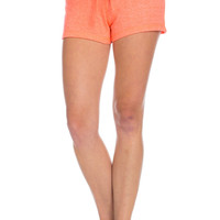 Contrast French Terry Knit Neon Orange Shorts