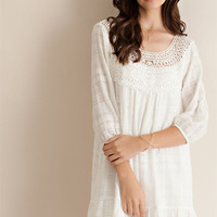 Crochet Patch Baby Doll Ruffle Dress - Ivory