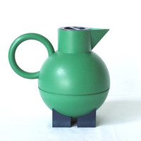ALESSI 'Euclid' Thermos, Michael Graves for Alessi, Green and Blue, Pitcher, Hot Water Thermos, Memphis Inspired, 1990s Postmodern