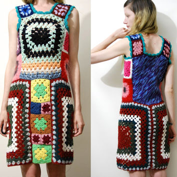 Crochet GRANNY SQUARE Dress Colourful Rainbow Knit Vintage Mini Vest Handmade Sweater ooak Kawaii Boho Bohemian Hippie vtg S M