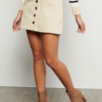 Sand Button Down Front Corduroy Mini Skirt