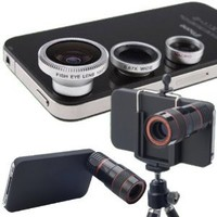XCSOURCE® 8 X Zoom Telescope Camera Lens 4in1 (Wide Angle+ Macro +Fish Eye +Micro Lens) with Tripod for Apple iPhone 4/4G/4S DC074