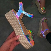 Women Hemp Platform Outdoor Beach Sandals High Heel Ladies Sexy Bling Sandals Leisure Buckle Slippers