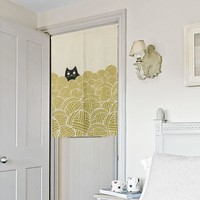 "Japanese Noren Doorway Curtain / Tapestry 33.5"" Width x 47.2"" Long with Cat and Yarn Ball"