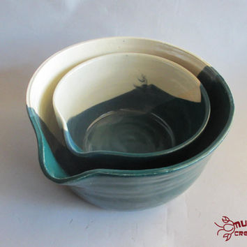 Ceramic Mixing Bowls - Set of 2, Teal and Cream