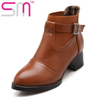 Big Size 34-43 Cool Buckle Charm Ankle Boots Add Fur Autumn Winter Boots Easy Chunky Heels Casual Shoes Women Boots