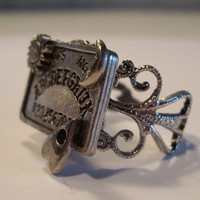 Victorian Goth THE OUIJA Filigree Silver-Tone Ouija Board Ring NEW Occult Witchboard Punk Psychobilly
